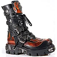New Rock Newrock 107-S1 Red Skull Devil Black Leather Boot Biker Goth Rock Boots
