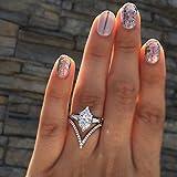 Yinew Einzigartige Art Deco Cut Diamant Simulanzlösemittel Silber Braut Hochzeit Verlobungsring Set Jubiläumsgeschenk