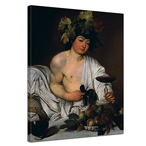 Bacchus Leinwand (Wandbild Caravaggio Bacchus - 50x70cm hochkant - Alte Meister Berühmte Gemälde Leinwandbild Kunstdruck Bild auf Leinwand)