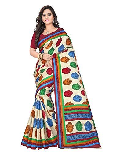 e-VASTRAM Womens Daily wear Khadi Kalamkari Printed Saree (DEVICHM_Beigem)