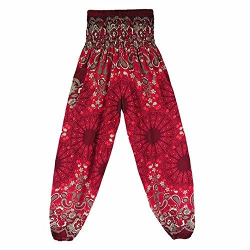 Yoga Hose Damen ❤️• •❤️ LUCKYCAT 2018 Neu Fashion Leggings MäNner Und Frauen Mandala Drucken Lose Hohe Taille Laterne Yogahosen (Weinrot, Freie Größe)