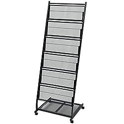 Festnight A4 Magazine Rack Floor Display Stand Exhibition Stand Display Stand Rack 47.5x43x133 Cm Black
