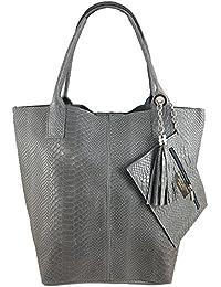 42e195411f5f2 Freyday Damen Echtleder Shopper mit Schmucktasche in vielen Farben  Schultertasche Henkeltasche Handtasche Metallic look