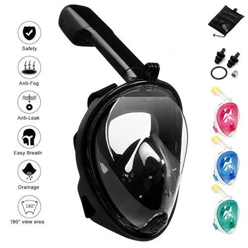 Masque de plongée pour Masque Facial Complet - Vue panoramique à 180 ° avec Support de caméra d'action Amovible, Conception Anti-buée et Anti-Fuite pour Adultes et Jeunes