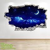 Mond und Sterne Nachthimmel Wandaufkleber 3D Optik - Sonnenuntergang Jungen Schlafzimmer Lounge Z147 - Large: 70 cm x 111 cm
