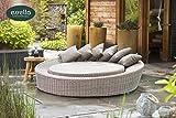 essella Hochwertige Polyrattan Sonneninsel Havanna Rundgeflecht Farbe Sand/Gartenmöbel/Gartenlounge/Outdoor
