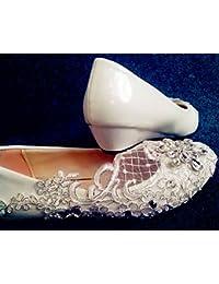 JINGXINSTORE 3 cm bajo el Talón de Marfil Cordón Crystal Boda Zapatos de Novia Tamaño 5-10.5,Blanca,US 7.5
