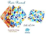 #9: Snowpearl Roti/Chapati Covers, Traditional Roti Rumals - 100% Pure Cotton Cover, Assorted Color & Design (Set of 4, Square)