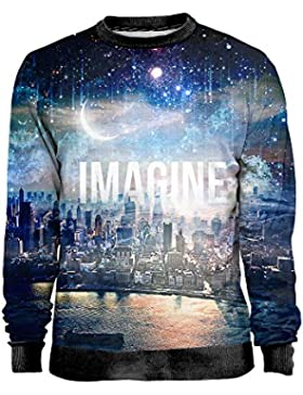 Blowhammer - Felpa Uomo - Imagine - Paesaggio Luna Colorata Astratta T-Shirt Sweatshirt Man