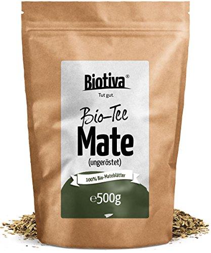 Matetee BIO 500g – ungerösteter grüner Mate Tee – Koffeinhaltige Yerba Mateblätter – Bio-Anbau – Verpackt und kontrolliert in Deutschland