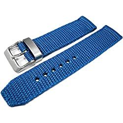 Blue Woven Nylon 20mm Watch Strap Band Brushed Stainless Steel Buckle