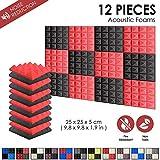 Super Dash 12Stück 25x 25x 5cm Pyramide Akustik Home Studio schaldicht Behandlung Zubehör Foam Wall Panel Fliesen sd1034, rot / schwarz, 25 x 25 x 5 cm