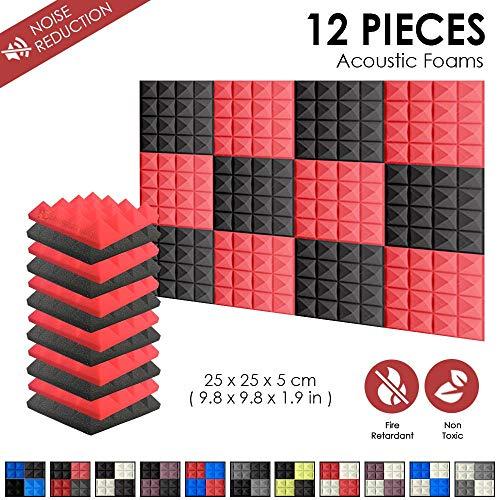 Super Dash Combination (12 Unidades) de 50 X 50 X 5cm Pulgadas Insonorizacion Piramide Espuma Absorcion Aislamiento Acustica Paneles Tratamiento Conjunto SD1034 (ROJO & NEGRO)