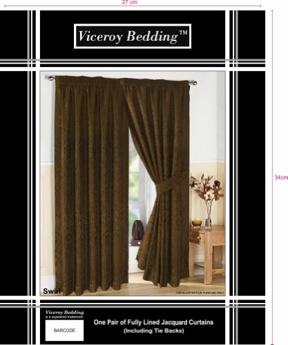 Pair of Fully Lined CHOCOLATE 66″ Width x Drop 72″ JACQUARD SWIRL DESIGN Pencil Pleat Curtains with Matching Tiebacks by VICEROY BEDDING