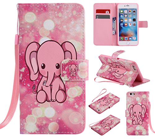 E-Lush Premium PU Leder Laserschneiden Schmetterling Muster Tasche für Apple iPhone 6/6S Plus(5,5 zoll) Einfach Einfarbig Muster Klapphülle 360 Full Body Protection Flip Case Wallet Cover Weiche Flexi Elefant Rosa