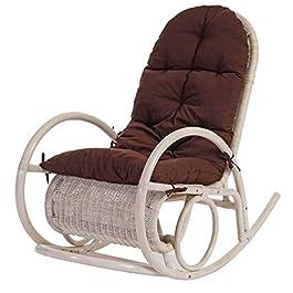 Mendler Fauteuil à Bascule Esmeraldas, Rocking-Chair, Fauteuil en rotin, Blanc – Rembourrage Marron