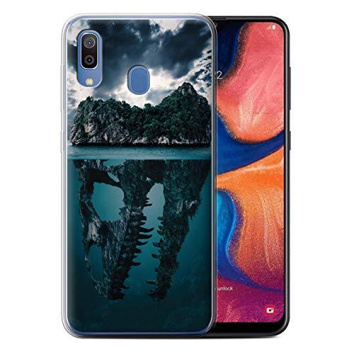 eSwish Gel TPU Hülle/Case für Samsung Galaxy A20/A30 2019 / Tropische Insel/T-Rex Muster/Dinosaurier Jurassic Earth Kollektion T-rex-mobile Handy