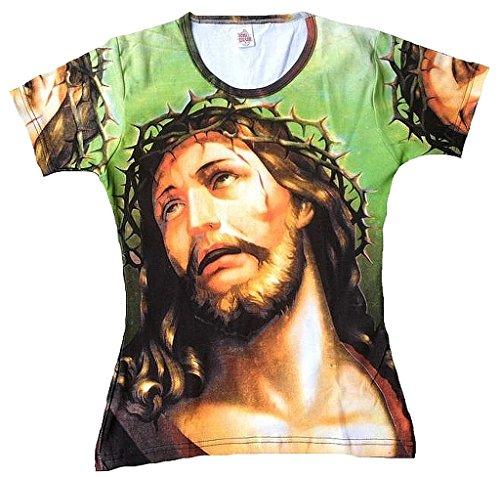 Ticila Damen Woman Femmes T-Shirt Grün Green Jesus Christ Christus Dornen Krone Thorns Crown Kreuzigung Kunst Art Religion Super Star Designer Vintage Tattoo Design L 42 (Jesus Thorn Krone)