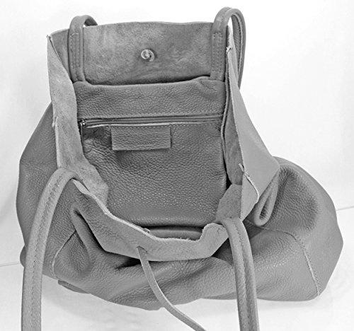 Ital Echt Leder Ledertasche Damentasche Handtasche Shopper Schultertasche (hellgrau) hellgrau