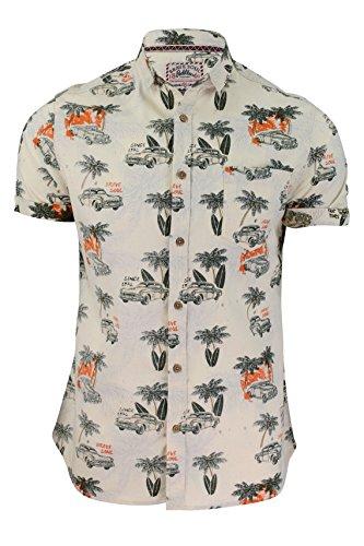Para hombre Brave Soul camiseta Kapua hawaiano impresión cuello Top blanco crudo talla - M - 96,52 cm-101,6 cm Pecho
