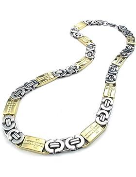 KONOV Schmuck Herren-Kette, Edelstahl Schwere Breit Kreuz Link Halskette, Gold Silber, Breite 11mm, Länge 55cm