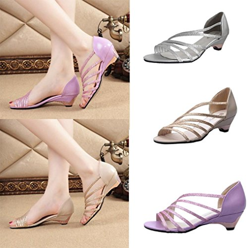 Sandales femme, Transer ® Fashion femmes découpages sandales Open Toe bas quartiers de chaussures d'été Violet