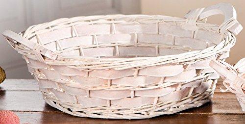 Coupe avec poignées en bois, ronde, blanc cérusé, osier avec copeaux en bois tressé