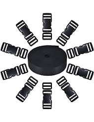 10 Set Nero Plastica 1 Pollici Fibbie Laterale a Rilascio e 10 Pezzi Tri-Glide Regolazione Clip Compatibile con 1 Rotolo 1 Pollici Larghezza 10 Yarde Nero Nylon Cinghia di Tessuto
