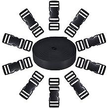 10 Set 1 Pulgada Hebillas de Plástico Lateral Plano de Liberación y 10 Piezas Clips de Ajuste de Triglide Compatible con 1 Rollo 1 Pulgada de Ancho 10 Yardas Correa de Nylon Negro