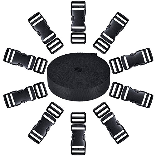 51fjYHUoyfL. SS500  - 10 Set Black Plastic 1 Inch Flat Side Release Buckles and 10 Pieces Tri-glide Adjustment Clips Compatible with 1 Roll 1 Inch Wide 10 Yards Black Nylon Webbing Strap