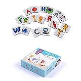 Alphabet Puzzle Karte Pädagogisches Spielzeug - Hanmun MD0041 Neue Serie 52 Stücke Hartfaserplatte Alphabet Lernen Spiel Spiel Flash-Karten mit Buchstaben für Kinder 4+