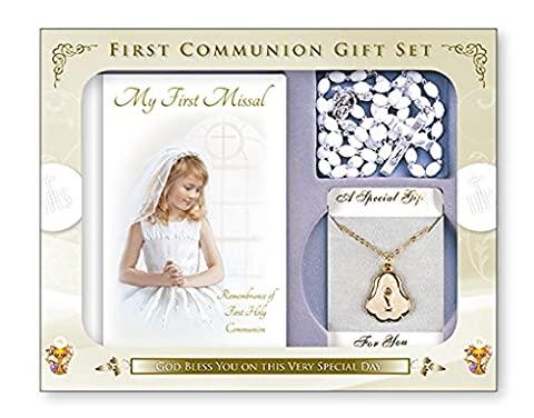 FHC First Holy Communion Gift Set Girl Missal Book, ROsary Beads, Pearl Medal and Chain C5206