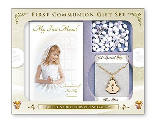 FHC C5206 Set para primera comunión, para niña, ideal como regalo, incluye oracionero, rosario, medalla de perla y cadena