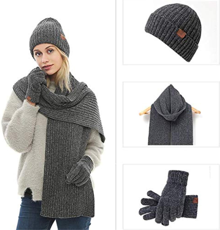 FAMLYJK Warm Winter Men 3 PCS Lavorato A Maglia Maglia Set Cappello  Lavorato A Maglia Maglia Lunga Sciarpa Guanti Touch... Parent 72f2d5 92881d76ea3b