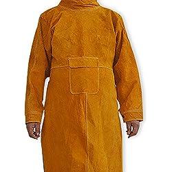 NUZAMAS Delantal de soldadura Anti-llama de piel de vaca de abrigo largo Ropa protectora Ropa Traje de soldador Durable Leather Protección Extra 102cm