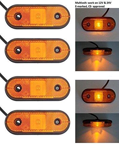 Preisvergleich Produktbild 4 x LED 10–30 V Bernstein orange Outline Eckregal Seite Marker E-Prüfzeichen Lichter für LKW Trailer Truck Wohnmobil Caravan Chassis