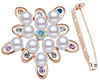 FENGJI Crystal Gold Plated Brooch Pins Wedding Scarf Decoration Brooches for Women Gold Multicolor