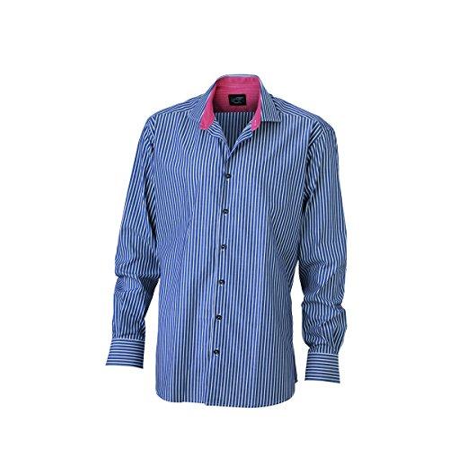 JAMES & NICHOLSON -  Camicia classiche  - Basic - Maniche lunghe  - Uomo marine - blanc / rouge