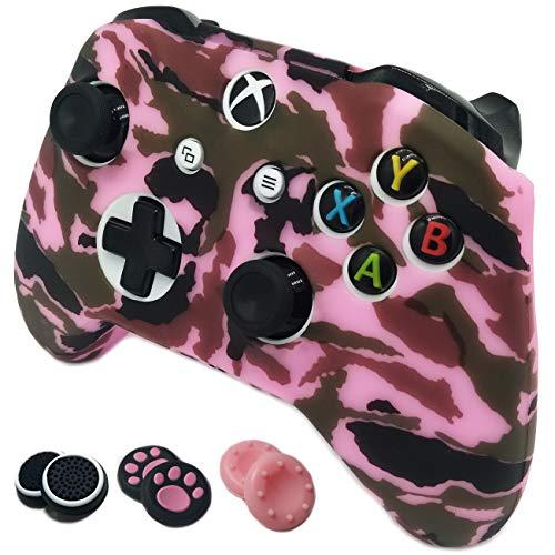 1g Gummi (easyCool Anti-Rutsch-Silikonhülle für Microsoft Xbox One S & One X Controller mit sechs Daumengriffkappen 1g camo pink)