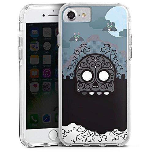 Apple iPhone 7 Bumper Hülle Bumper Case Glitzer Hülle Skull Friedhof Cemetery Bumper Case transparent