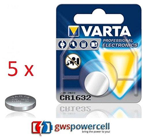VARTA PROFESSIONAL LITHIUM CR1216 / CR1220 / CR1225 / CR1616 / CR1620 / CR1632 / CR2016 / CR2025 / CR2032 / CR2320 / CR2430 / CR2450 jeweils im Einzelblister verpackt / NEU & OVP (CR1632, 5 Stück)