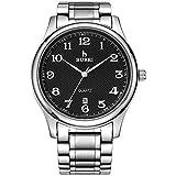 BUREI Relojes analógicos de Cuarzo para Hombres con indicador de Fecha Banda de Acero Inoxidable Vestido Elegante Negocio Casual Relojes para Hombre (Negro)