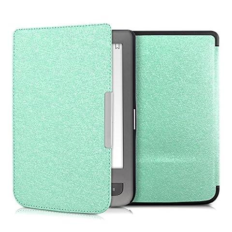 kwmobile Étui à rabat pour Pocketbook Touch Lux 3 / Touch Lux 2 / Basic Lux / Basic 3 / Basic Touch 2 - Pochette rabattable en simili-cuir en menthe
