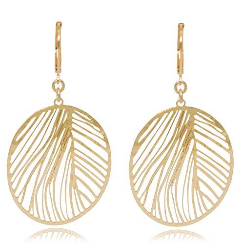 David aubrey orecchini donna oro ovale ciondolo piuma forbici taglio laser cut argento placcato oro 18k–atle10382f