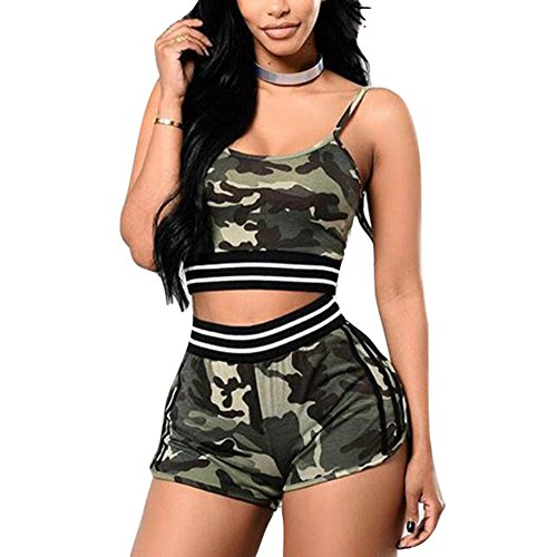Femmes Survêtement Ensemble 2 Pièces Camouflage Sans Manches Sportswear Casual Mid Taille T-Shirt Gym Yoga Workout Exécution Tenue Sport Porter Costume Juleya camouflage