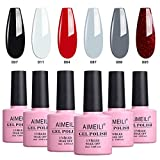 AIMEILI UV LED Gellack Schwarz Weiß Grau Rot mehrfarbig ablösbarer Gel Nagellack Gel Polish Set - 6 x 10ml - Kit Nummer 28