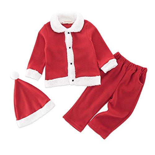 Doubleer Neugeborene Baby Weihnachten Kleidung Mit Hut Baby 3 Stücke Red Santa Cosutme Anzug