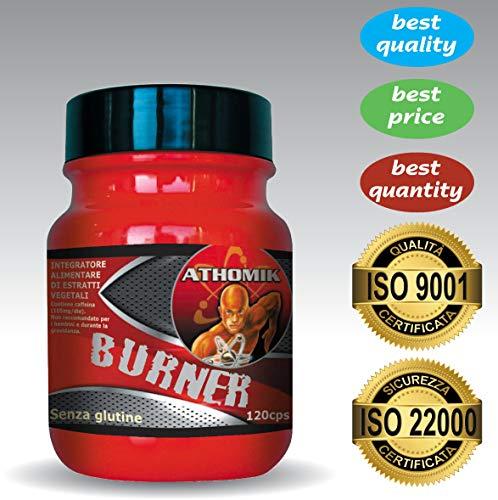 Athomik, burner | 120 cps. | forte aiuto dimagrante per donna e uomo | potente brucia grassi efficace per perdere peso e far dimagrire addominali, fianchi, cosce | termogenico naturale | 100% vegan