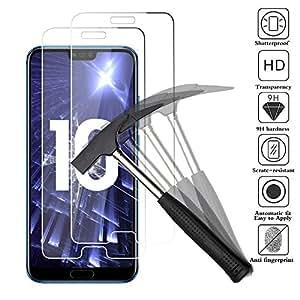 【2 Pièces】Huawei honor 10 Plasma Verre Trempé, Huawei honor 10 Plasma Protecteur d'écran, ANEWSIR Film Protection en Verre trempé écran Protecteur vitre - 【0.3mm】【Dureté 9H / 2.5D】 【Anti Rayures】 【Sans Bulles D'air】 - Ultra Résistant Transparent Glass Screen Protector pour Huawei honor 10 (5,84 pouces).