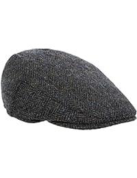 1f1a6491eea Harris Tweed Mens Classic Charcoal Herringbone County Flat Cap - Handwoven  In Scotland